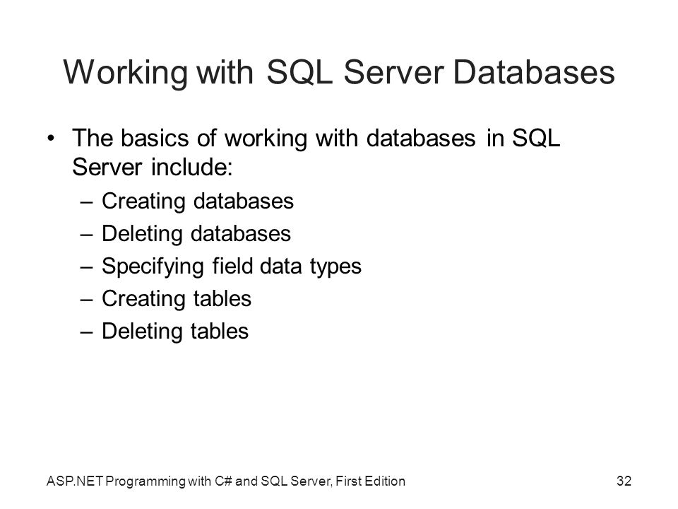 Working with SQL Server Databases