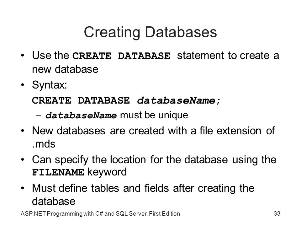 Creating Databases Use the CREATE DATABASE statement to create a new database. Syntax: CREATE DATABASE databaseName;