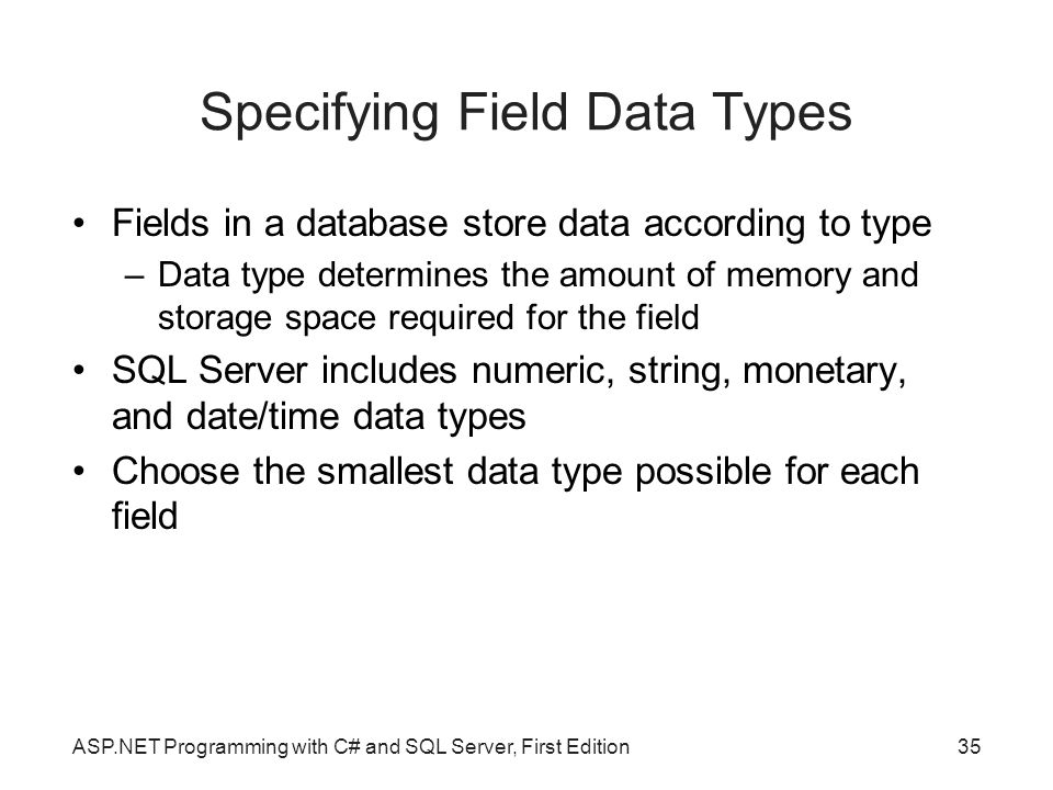 Specifying Field Data Types