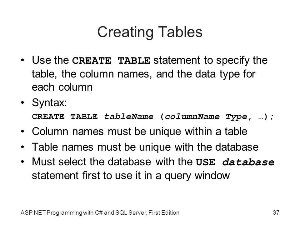 Creating Tables Use the CREATE TABLE statement to specify the table, the column names, and the data type for each column.