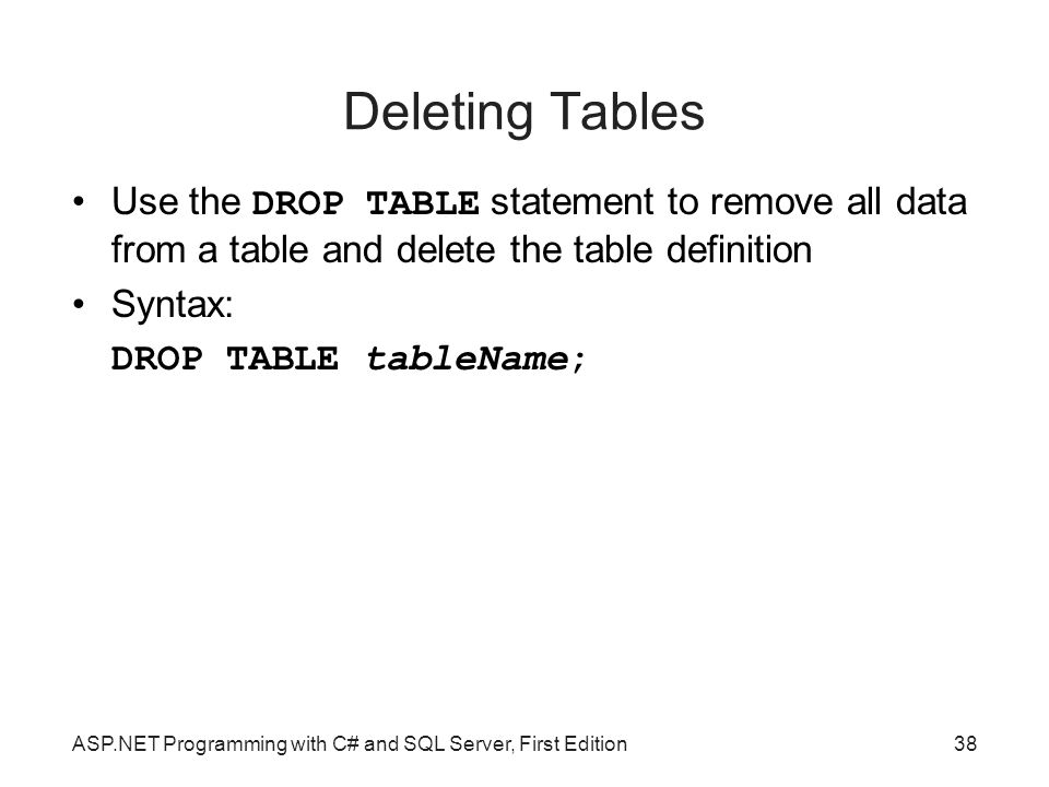 Deleting Tables Use the DROP TABLE statement to remove all data from a table and delete the table definition.
