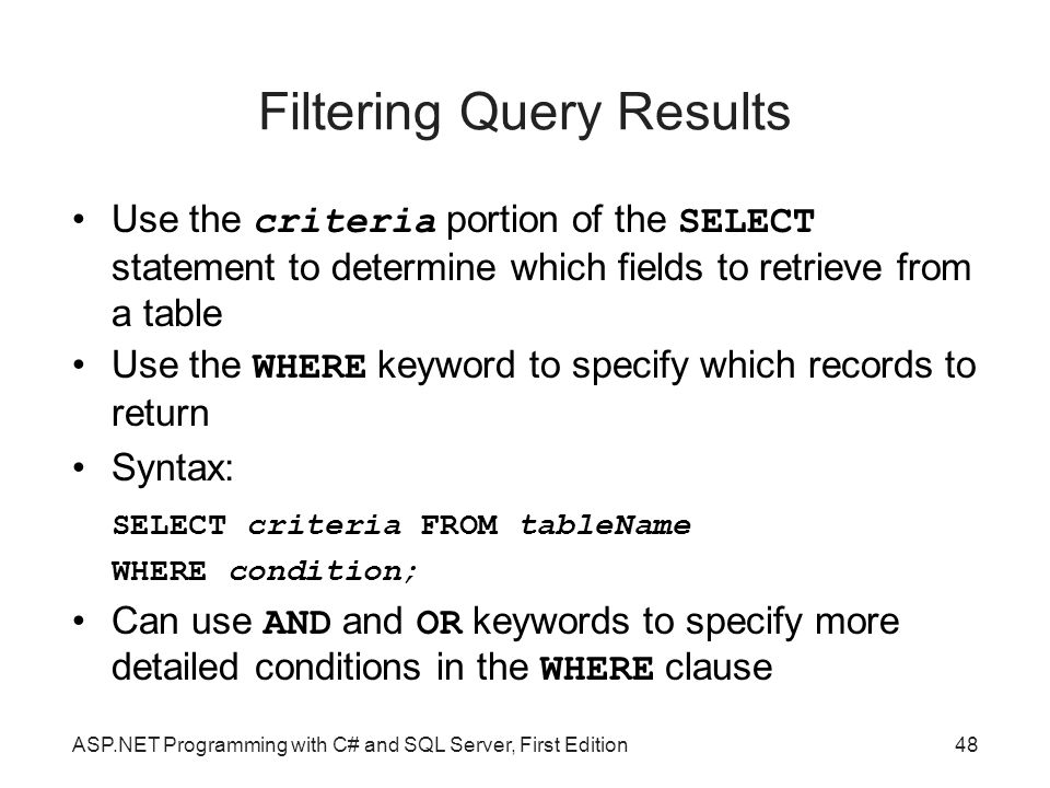 Filtering Query Results