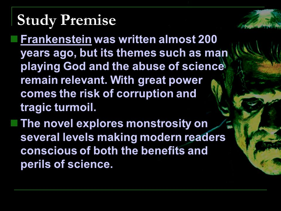 frankenstein student interactive ppt responses are to be put into  3 study