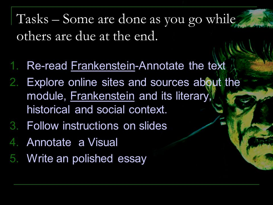literary analysis papers on frankenstein How to write literary analysis suggested essay topics sample a+ essay  the monster in mary shelly's frankenstein lurches into life as big as a man but as.