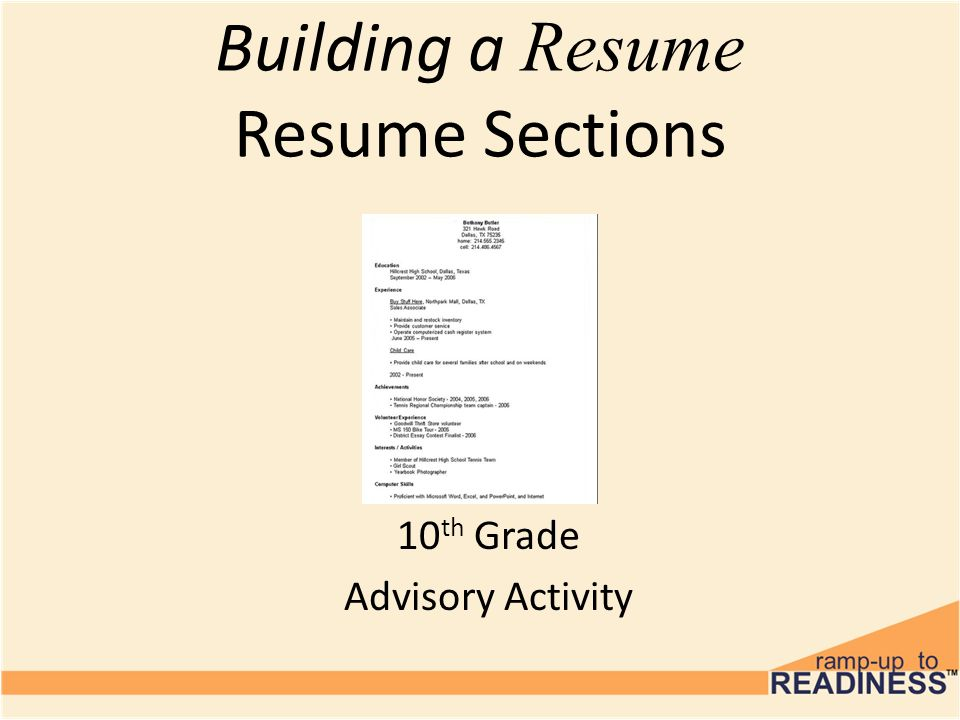 1 Building A Resume Resume Sections 10th Grade Advisory Activity  Resume Sections
