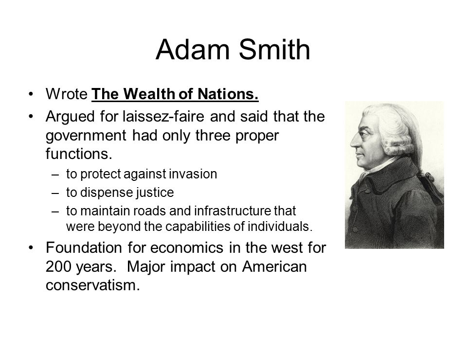 Adam smith influence on economic theory