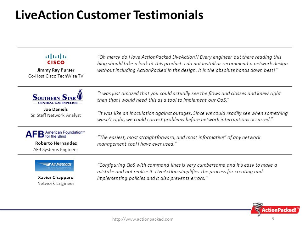 LiveAction Customer Testimonials