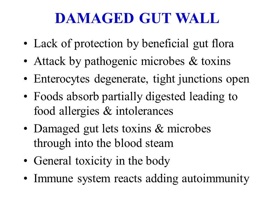 DAMAGED GUT WALL Lack of protection by beneficial gut flora