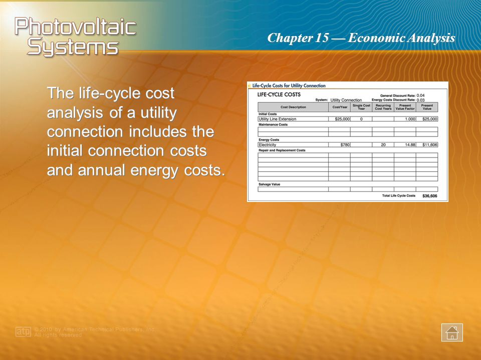 The life-cycle cost analysis of a utility connection includes the initial connection costs and annual energy costs.