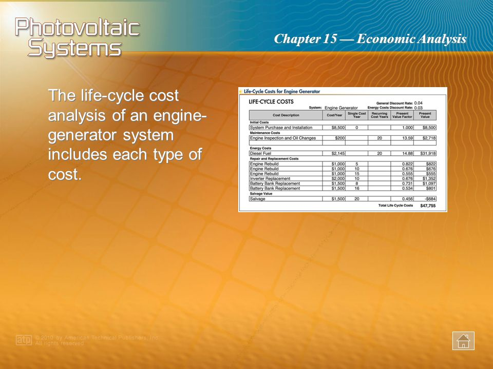 The life-cycle cost analysis of an engine-generator system includes each type of cost.