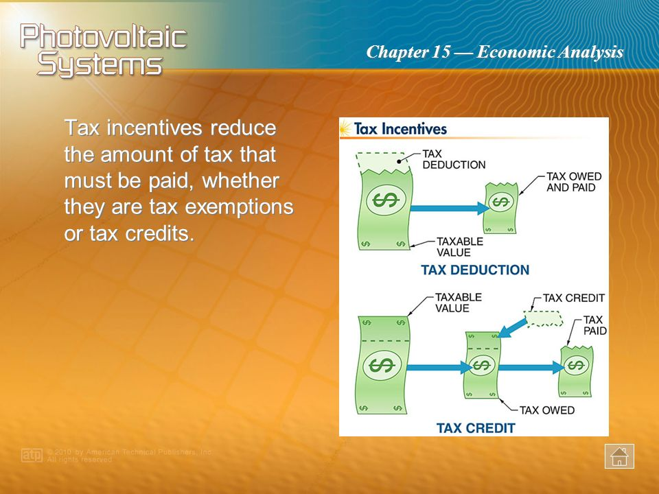Tax incentives reduce the amount of tax that must be paid, whether they are tax exemptions or tax credits.