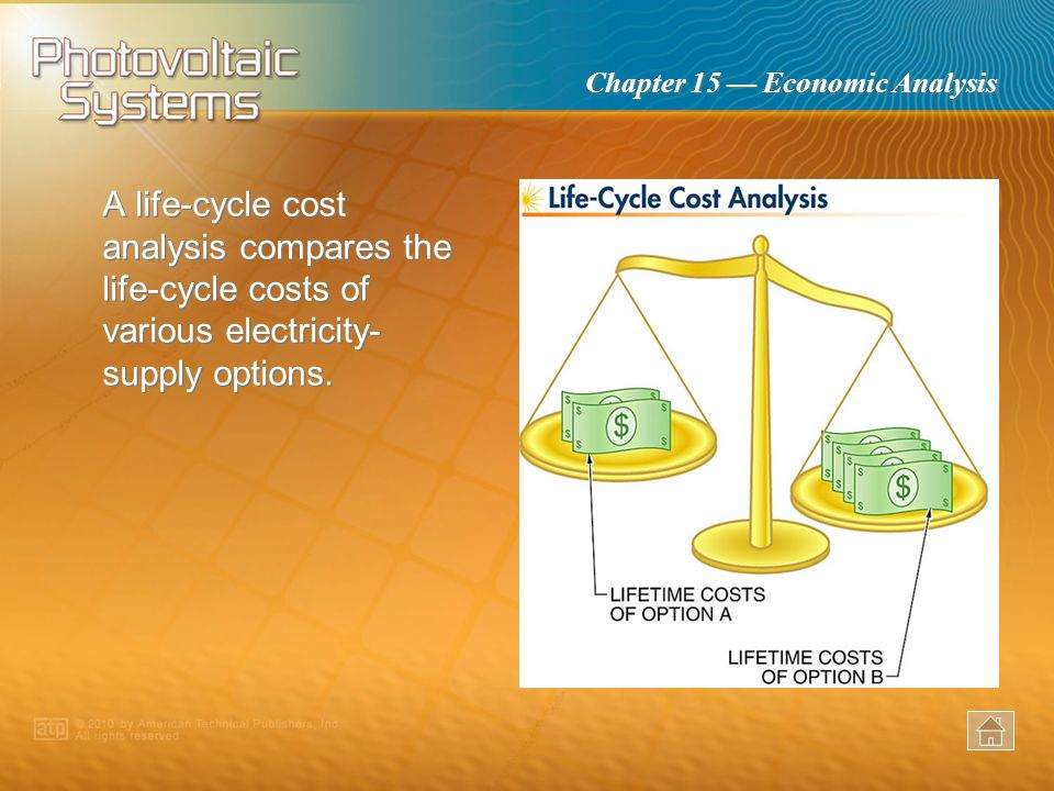A life-cycle cost analysis compares the life-cycle costs of various electricity-supply options.