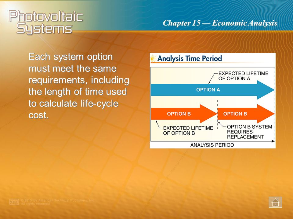 Each system option must meet the same requirements, including the length of time used to calculate life-cycle cost.