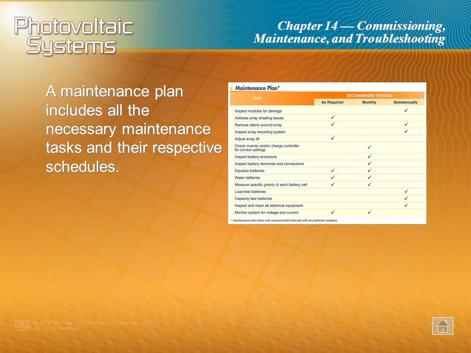 A maintenance plan includes all the necessary maintenance tasks and their respective schedules.