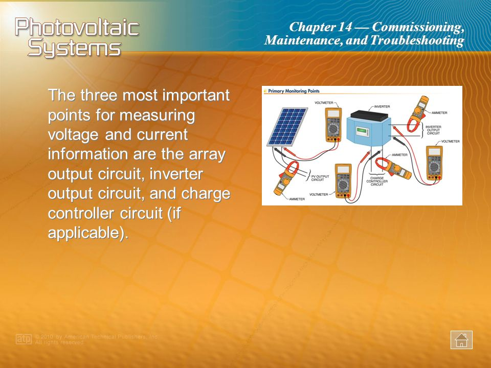 The three most important points for measuring voltage and current information are the array output circuit, inverter output circuit, and charge controller circuit (if applicable).