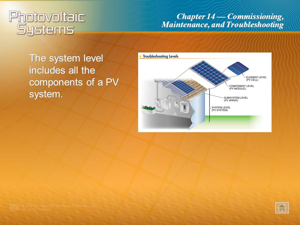 The system level includes all the components of a PV system.