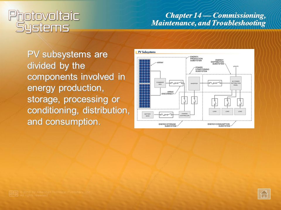 PV subsystems are divided by the components involved in energy production, storage, processing or conditioning, distribution, and consumption.