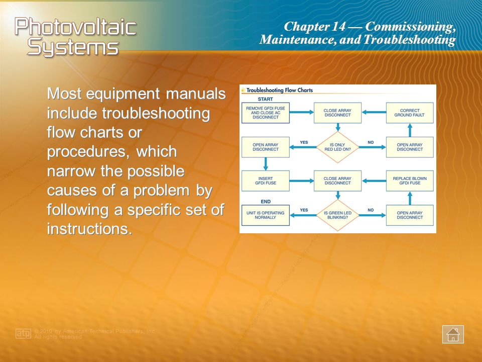 Most equipment manuals include troubleshooting flow charts or procedures, which narrow the possible causes of a problem by following a specific set of instructions.