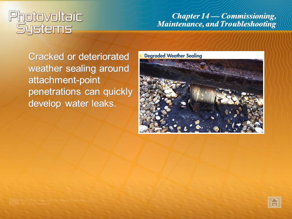 Cracked or deteriorated weather sealing around attachment-point penetrations can quickly develop water leaks.