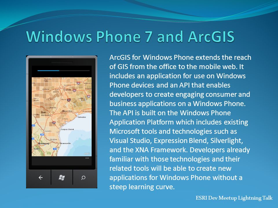Windows Phone 7 and ArcGIS
