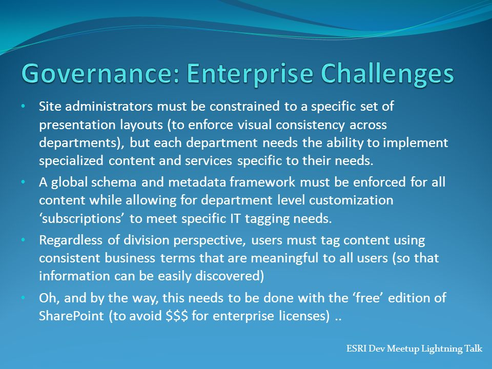 Governance: Enterprise Challenges