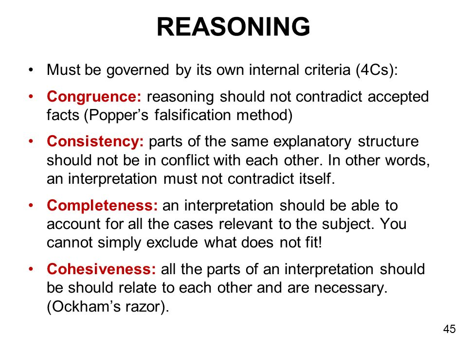 Reasoning Must be governed by its own internal criteria (4Cs):