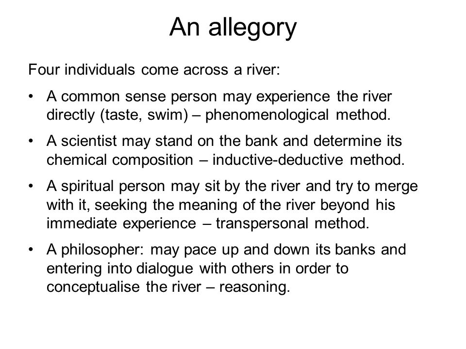 An allegory Four individuals come across a river: