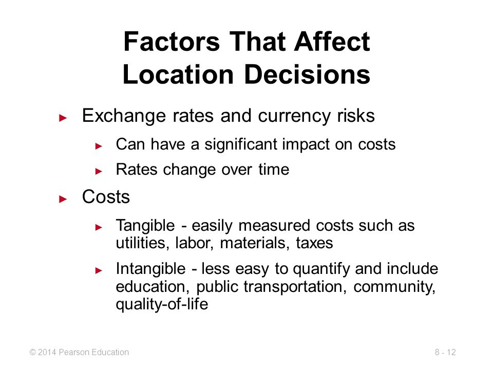what community factors influence location decisions Source of revenue to supply public goods and services to its communities   taxes were significantly related to plant location decisions, though their influence  was  potential factor in the plant location decision econometric techniques that .