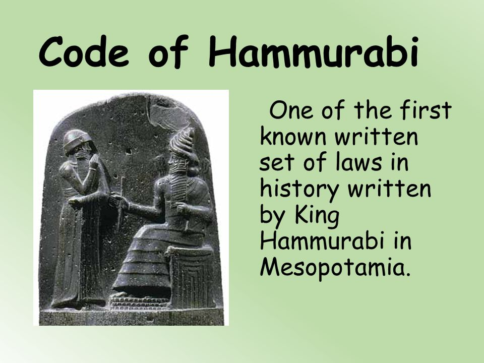 an introduction to the history and the laws of hammurabi Two of the best known imagined realities in history fundamental for the   hammurabi may have believed this as well, that his laws were.