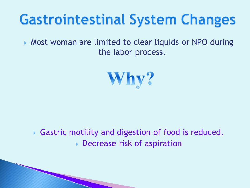 Gastrointestinal System Changes