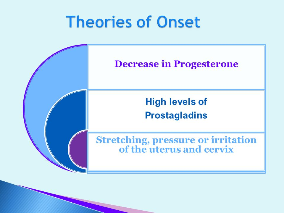 Theories of Onset Decrease in Progesterone. High levels of. Prostagladins. Stretching, pressure or irritation of the uterus and cervix.