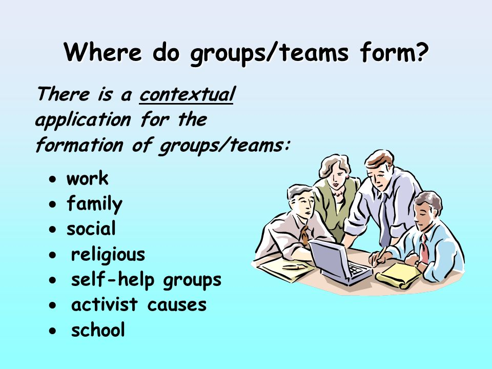 the formation of groups teams Although subtle, there are differences between groups and teams these are typically the reason the group or team was assembled and the goal they.