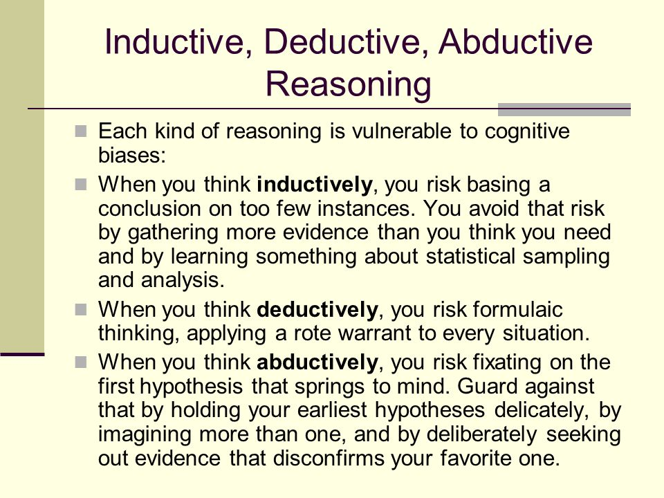 inductive reasoning martin king —martin luther king, jr,letter from a birmingham jail in addition to the forms of invalid arguments, fallacious reasoning occurs in everyday logic some people use the fallacies described below to intentionally deceive.