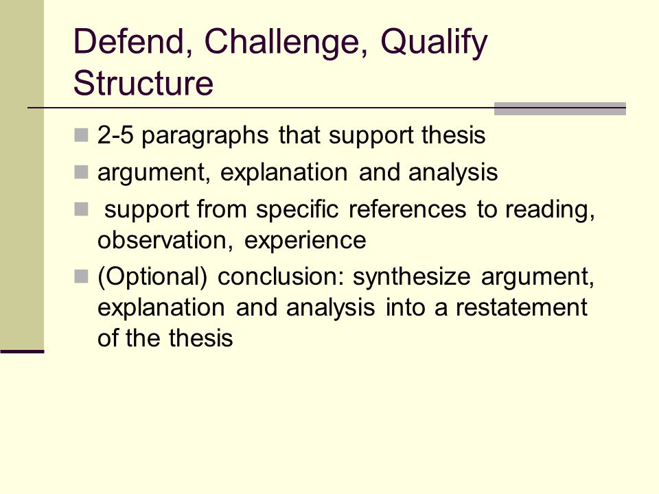 defend challenge qualify thesis statement Example of a non-debatable thesis statement: pollution is bad for the environment global warming is the most pressing challenge facing the world today.