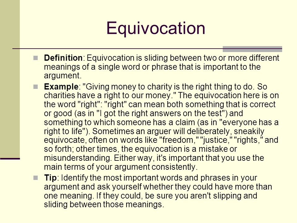 40 Equivocation Definition: Equivocation ...