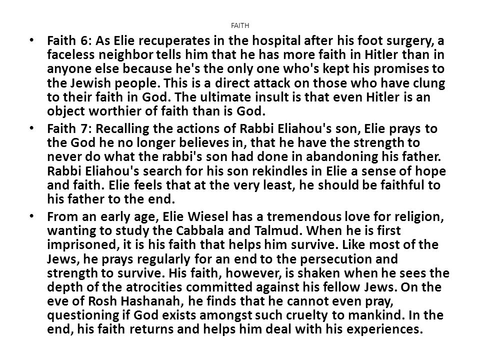 A chapter analysis of the story of elie and his description of the sighet jews
