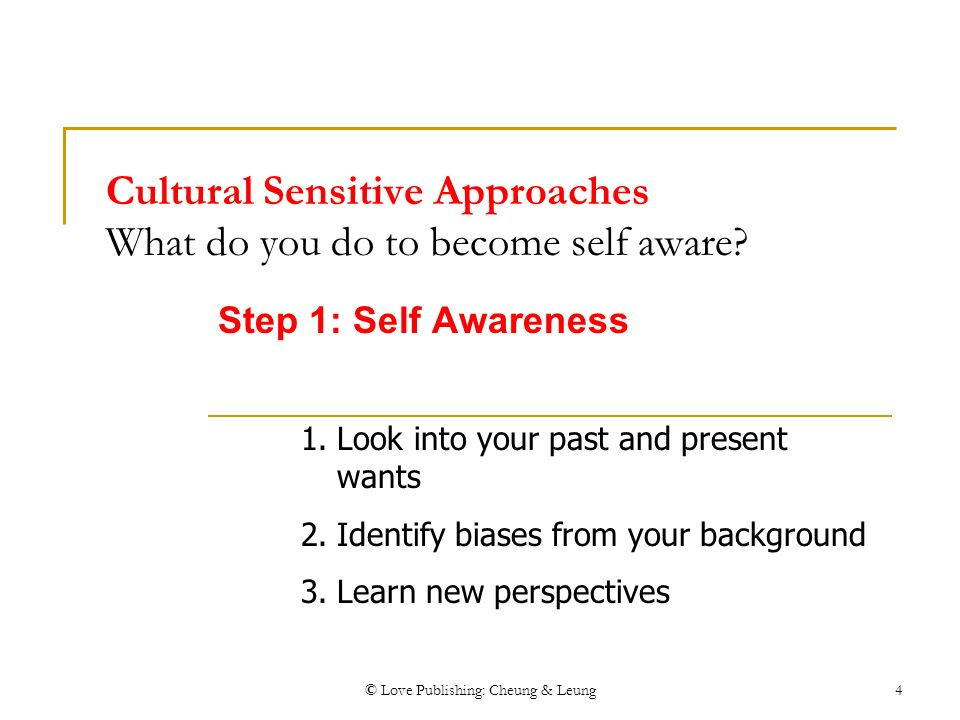 own self awareness and cultural background in And cultural backgrounds are disproportionately burdened with systemic and   c clinicians' self-assessment, reflection, and self-awareness of own culture,.