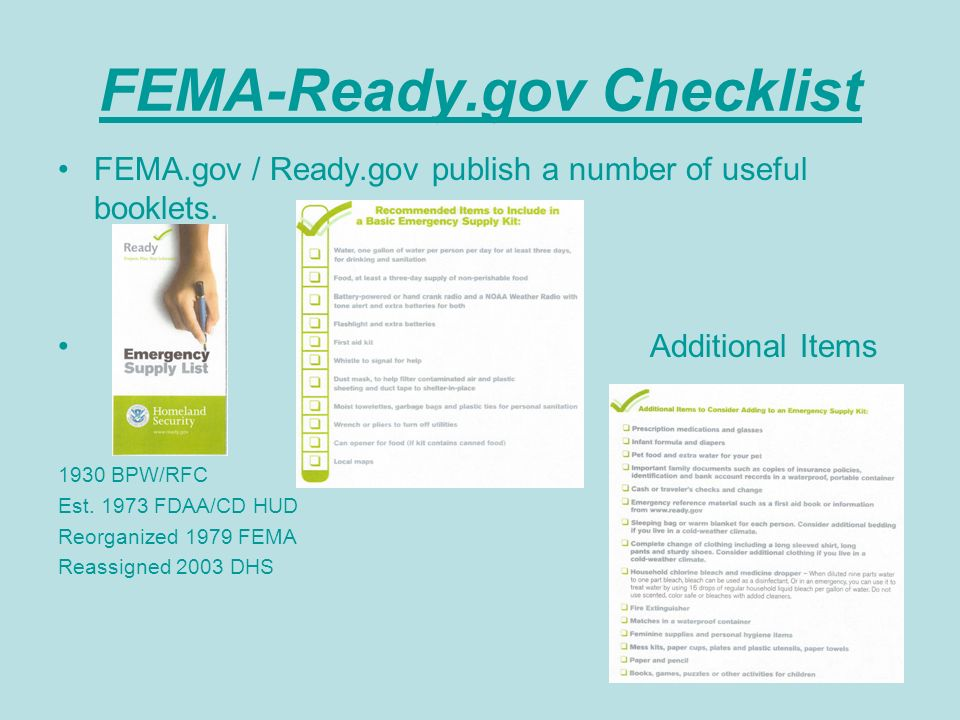 FEMA-Ready.gov Checklist