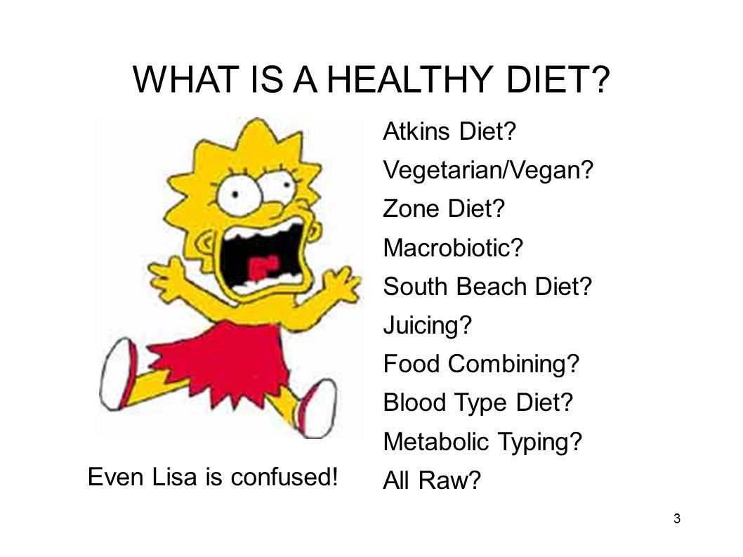 WHAT IS A HEALTHY DIET Atkins Diet Vegetarian/Vegan Zone Diet