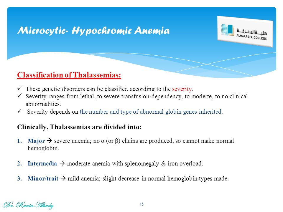 hypochromic microcytic anaemias and thalassemia Medline abstract printer-friendly microcytic hypochromic anemia there was a significant difference between beta-thalassemia trait and beta-thalassemia major.