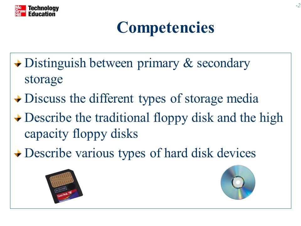 Competencies Distinguish Between Primary Secondary Storage