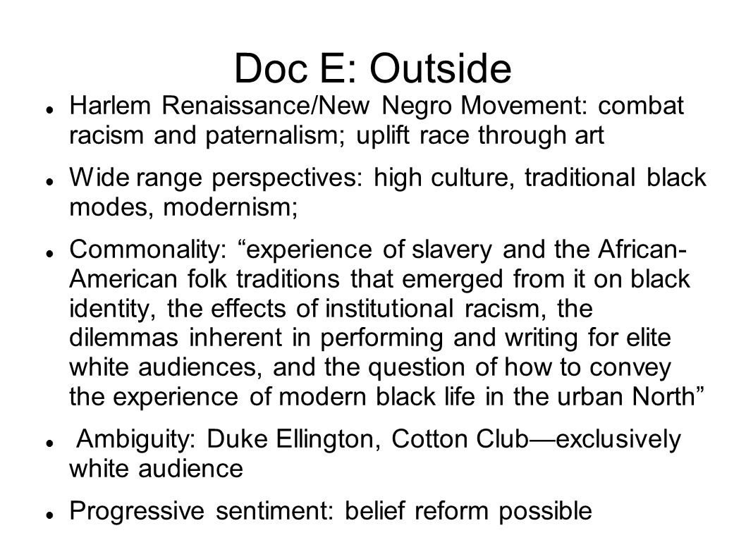 the effects of harlem renaissance on the new negro What effect did the harlem renaissance have on the civil rights movement  based in harlem,  it was the new negro movement in addition to the other posts.