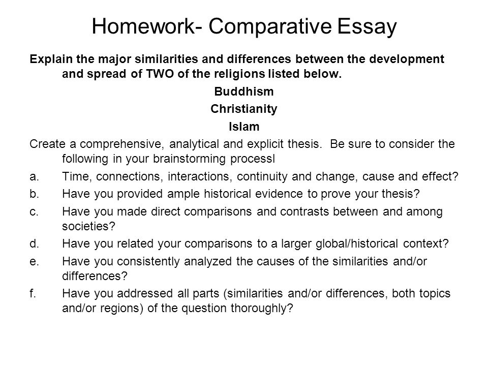 Comparative essay for christianity and islam
