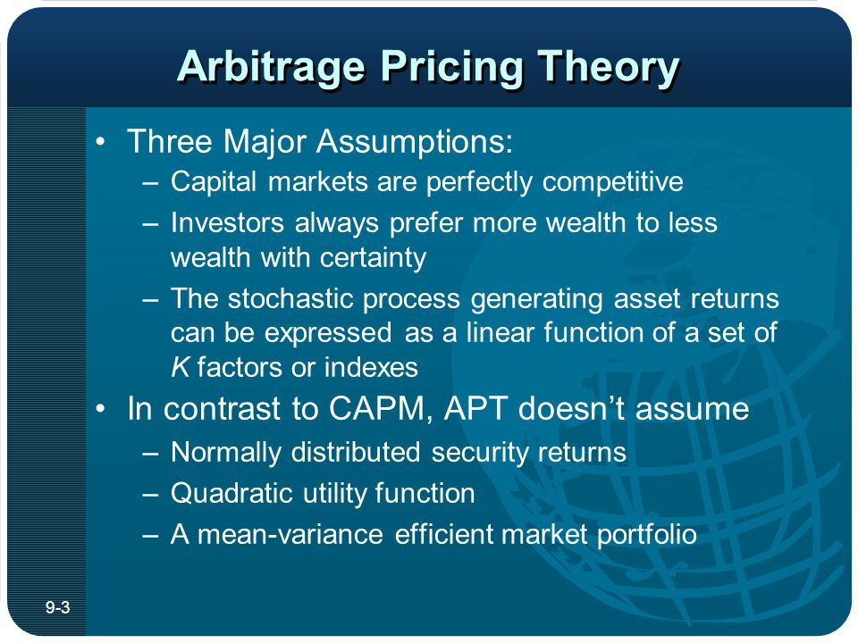 compare and contrast capm and apt Compare and contrast capm and apt  derive capm and apm capm: the capital asset pricing model is an equilibrium model of asset pricing, it states that the .