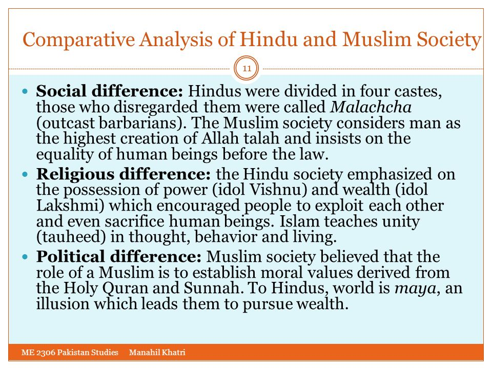 Comparative Analysis of Hindu and Muslim Society