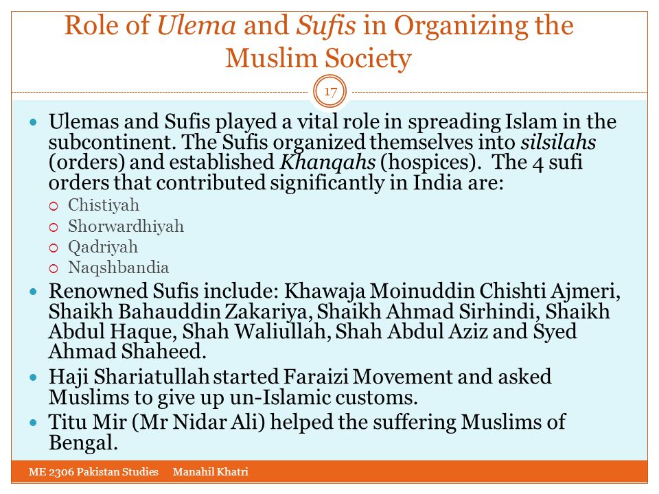 Role of Ulema and Sufis in Organizing the Muslim Society
