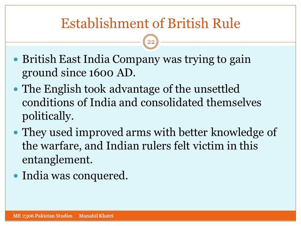 Establishment of British Rule