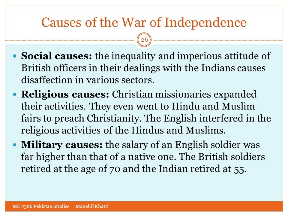 Causes of the War of Independence