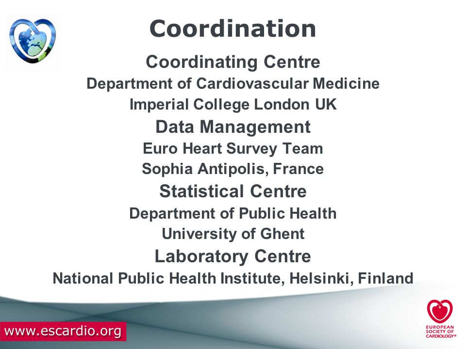 Coordination Coordinating Centre Data Management Statistical Centre