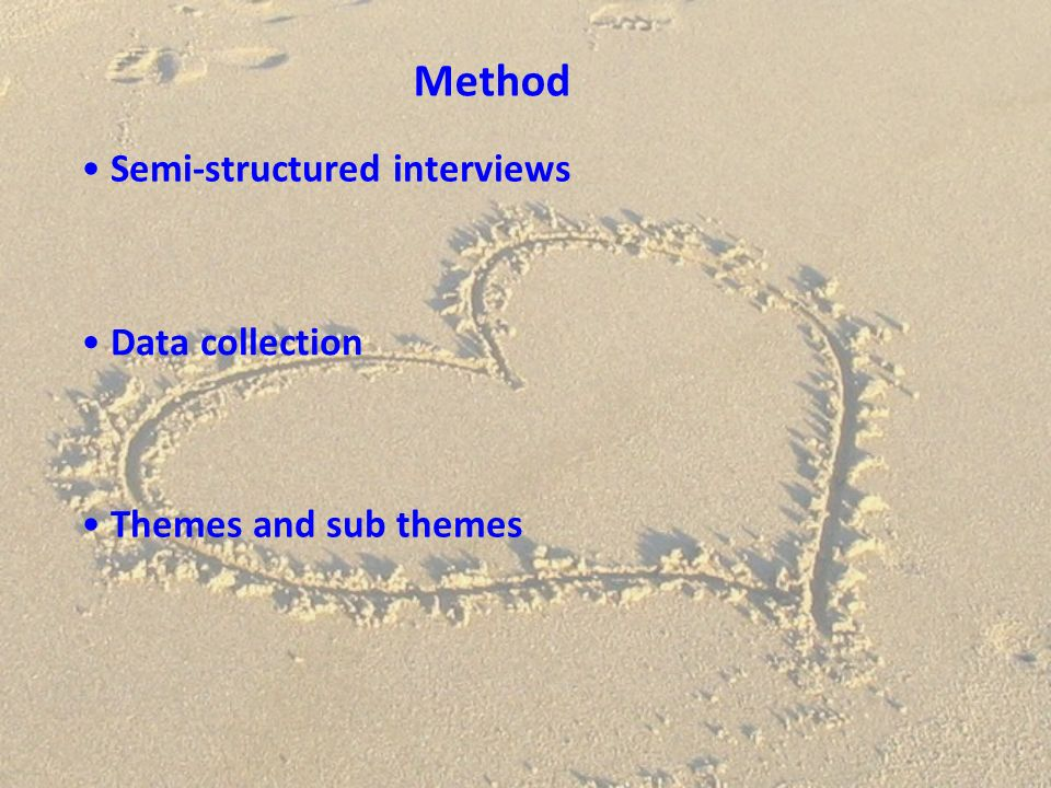 Method Semi-structured interviews Data collection
